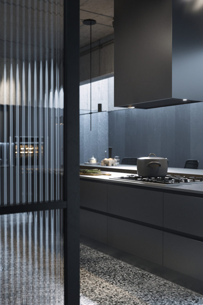 Allblack kitchen CGI  Ronen Bekerman  3D Architectural